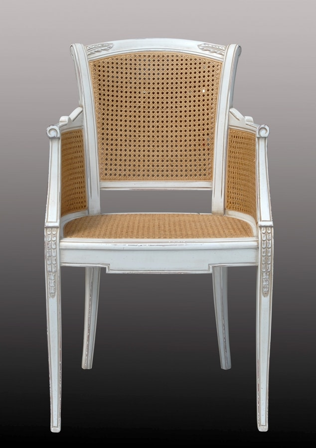 Isabella FA.0160, Cannè chair with padded seat, perfect for living rooms in classic luxury style