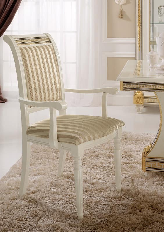 Liberty chair with armrests, Chair with armrests, with a classic design, precious gold leaf decorations