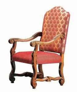 Matisse RA.0990, Head of the table chair in walnut, carved, for dining rooms