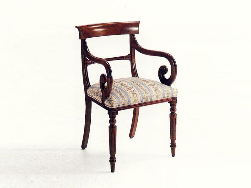 Mr. Morris, Head of table chair, classic, padded sitting, wooden structure