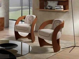 SE53 Mistral, Armchair in canaletto walnut, for classics living rooms