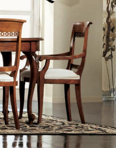 Settecento chair head of the table, Chair head of the table, stuffed, with classical carvings