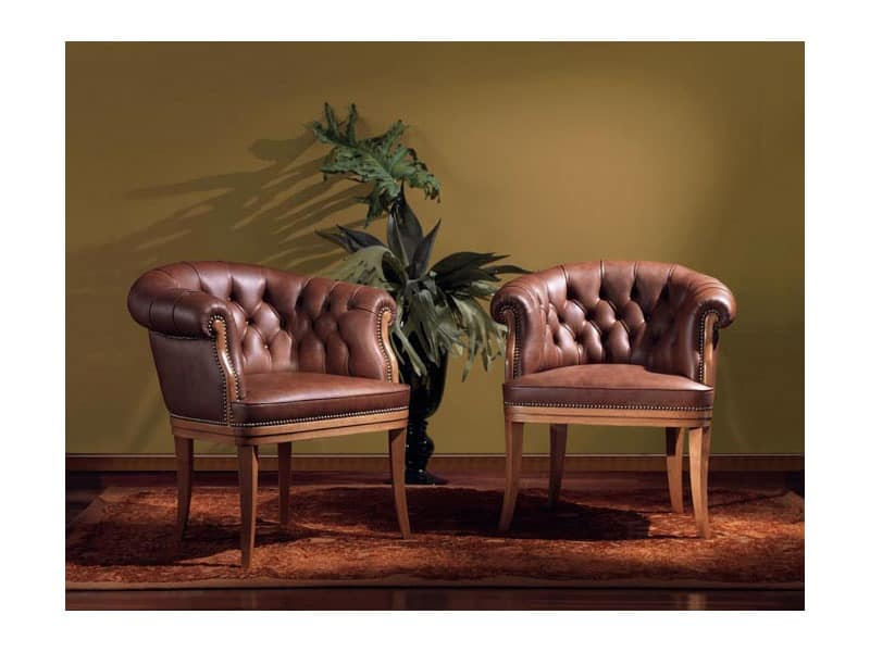 Sofia, Leather armchair, for classic office