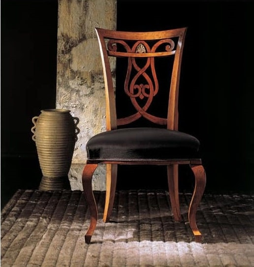 249S, Wooden chair with decorated back