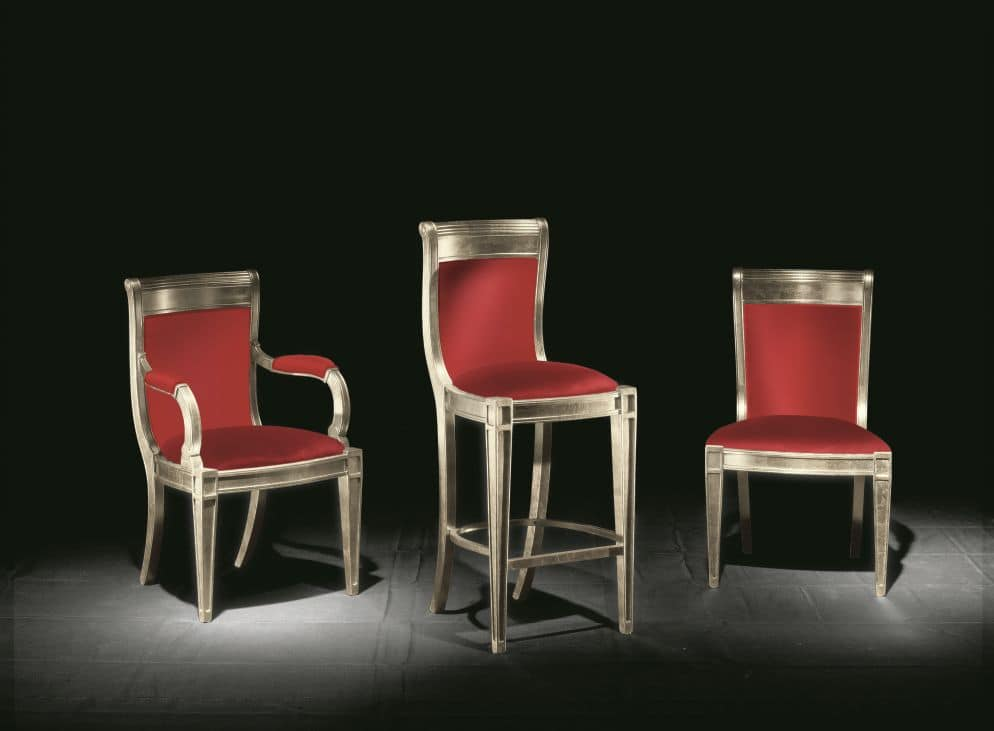 Eleganza fabric, Classic chair with armrests for hotels and dining rooms