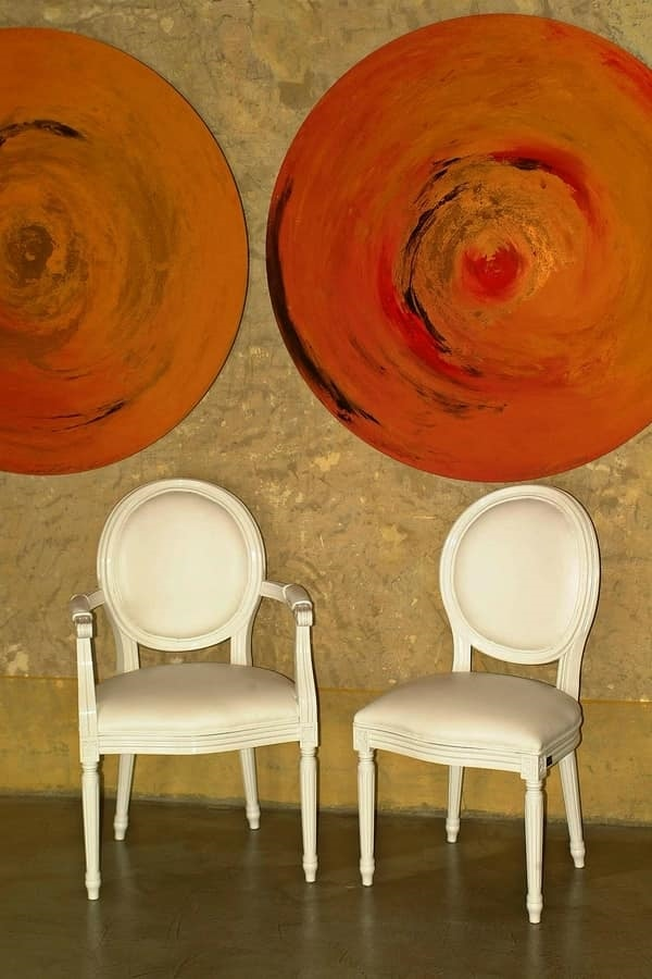 Rotondo leather, Alternative classic chair with arms for restaurants