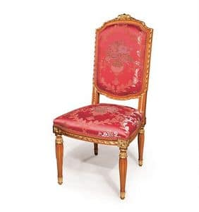 505/B, Classic style chair for dining room, finishings with gold leaf