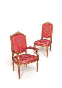 506/B, Classic chair with arms gold finishings suited for dining room