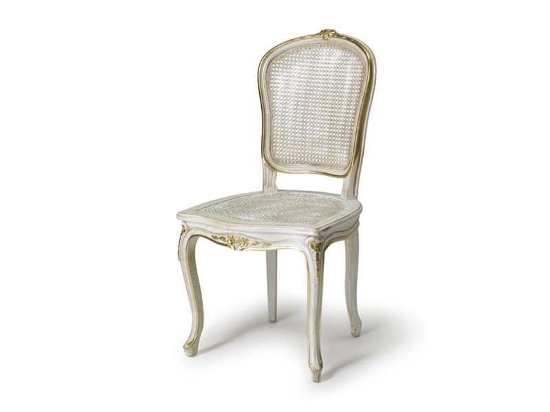 Art.108 chair, Chair with seat and backrest made of straw, Louis XV style