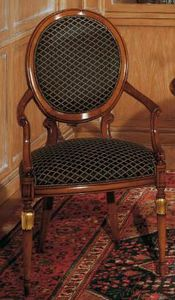 Art. 1113, Classic style chair for living rooms, oval backrest