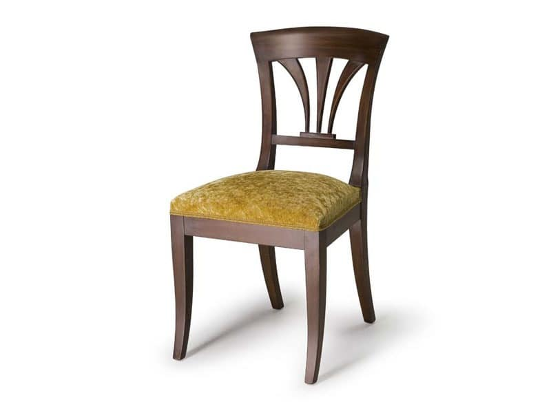 Art.133 chair, Chair with wooden backrest, classic style
