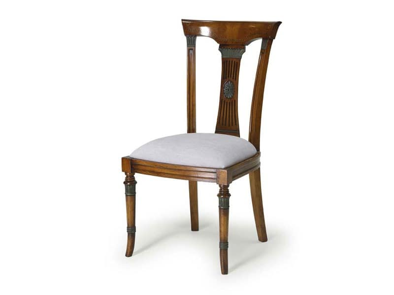 Art.186 chair, Dining chair, upholstered seat and backrest in wood