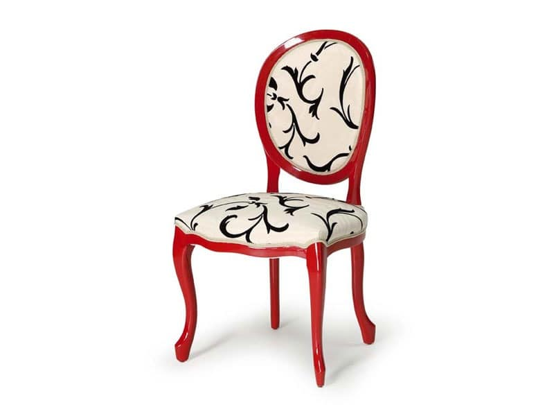 Art.417 chair, Chair made of polished wood, upholstered seat and backrest