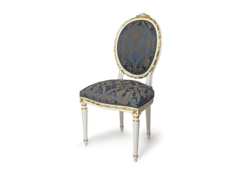 Art.439 chair, Upholstered chair with oval backrest, Louis XVI Style
