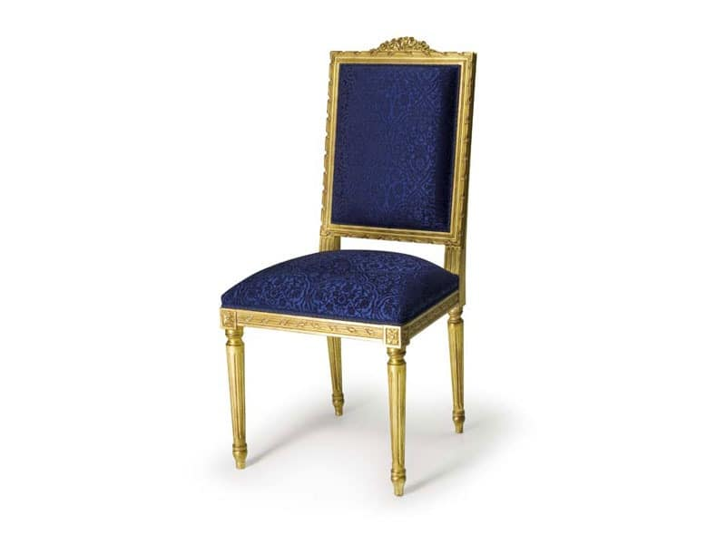 Art.441 chair, Padded chair made of beech wood, Louis XVI style