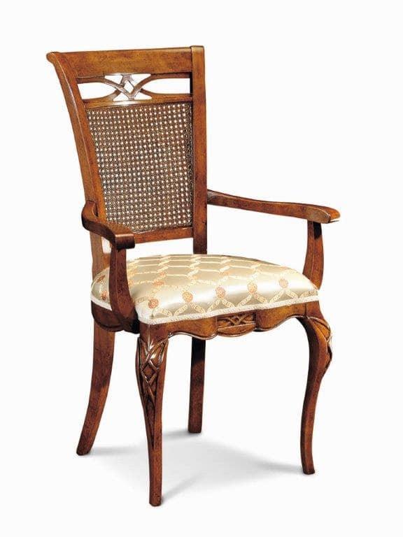 Art. 507p, Chair luxurious, with carvings and inlays and cane backrest