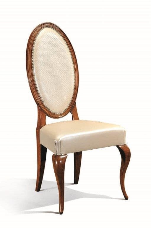 Art. 513s, Chair in wood with oval backrest for dining rooms