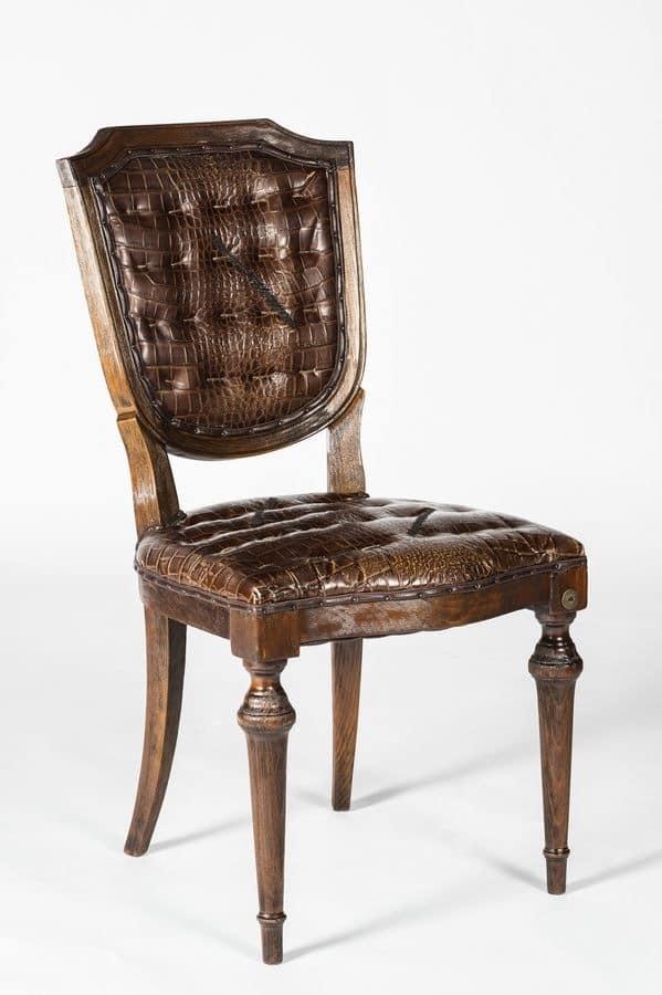 Art. 600/M, Chair covered in calfskin, crocodile print