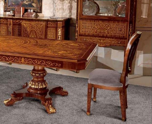 Art. 612, Upholstered chair with carved back, for lusury dining rooms