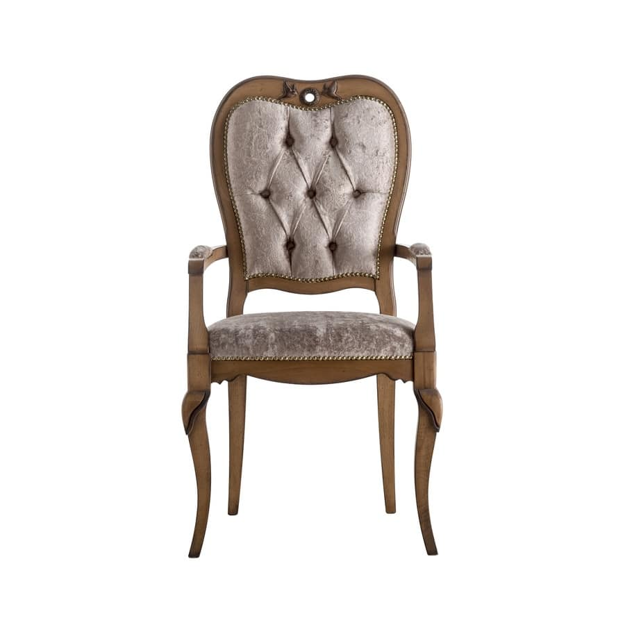 Art. AX109, Classic style wooden chair with padded armrests, seat and backrest