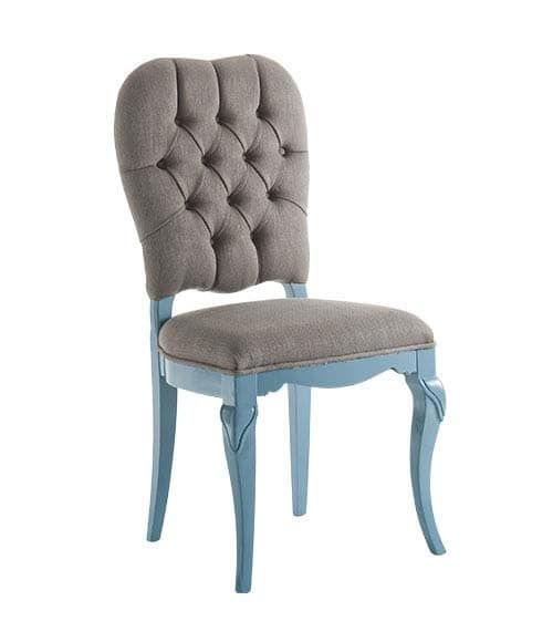 Art. AX112, Wooden chair in pastel colors, padded, classic