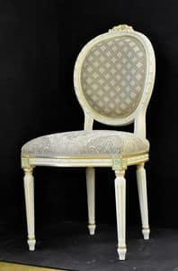 Art. L-792, Chair with wooden frame, upholstered seat and back, covered with fabric, embellished with floral decorations