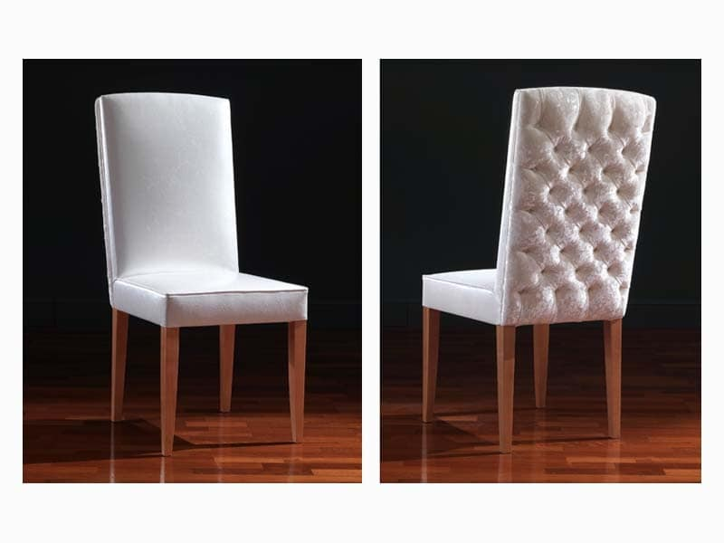 Aurora, Classic dining chair, with capitonné padding in the back side