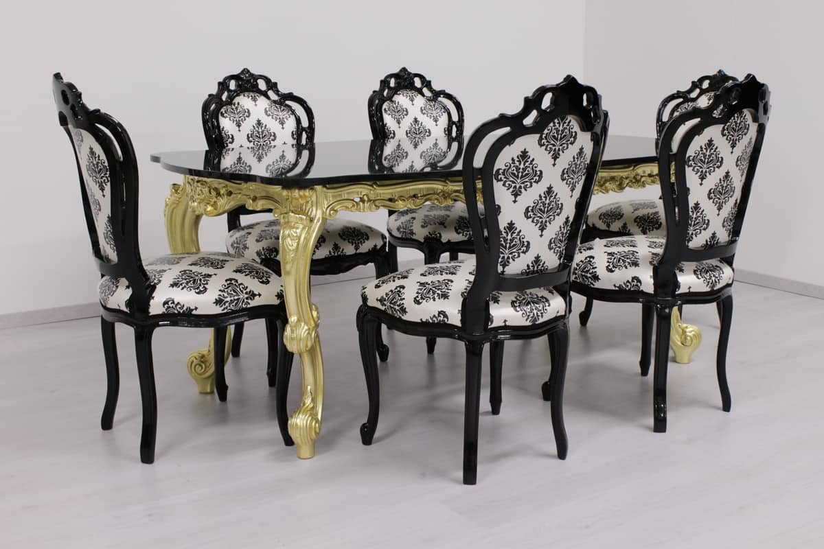 Black Damask, Black lacquered wooden chair, hand carved