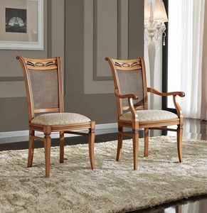 BS342S - Chair, Classic style chair with cane backrest