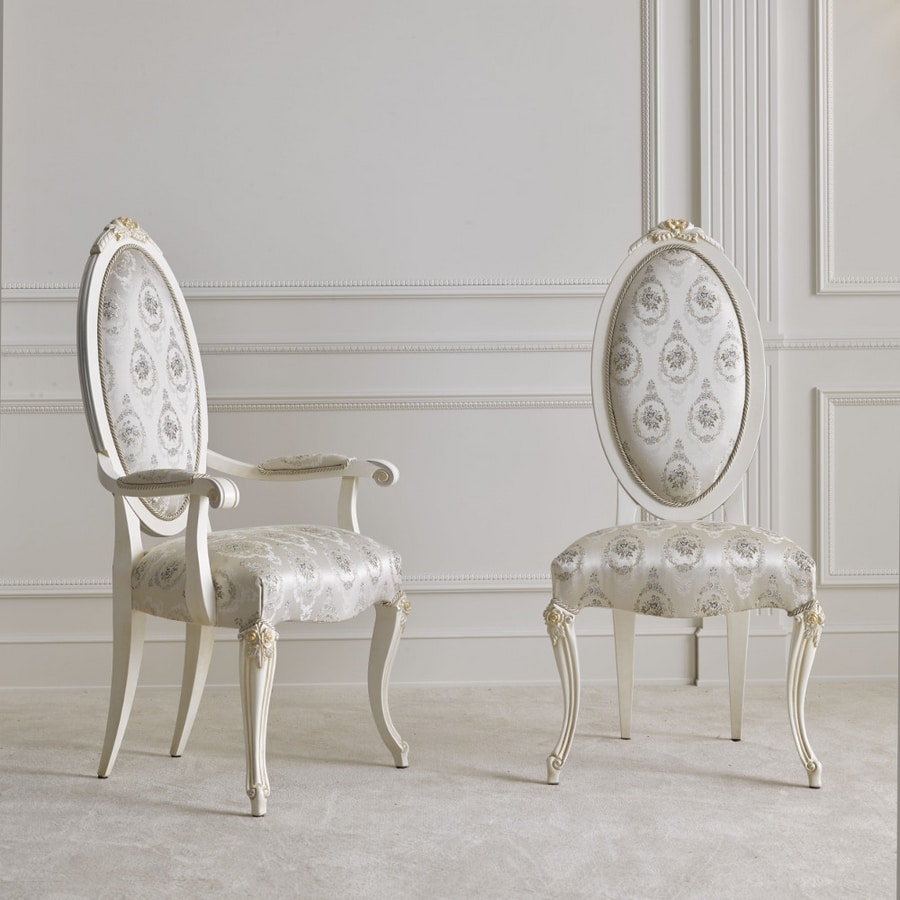 BS512A - Chair, Classic style chair with armrests