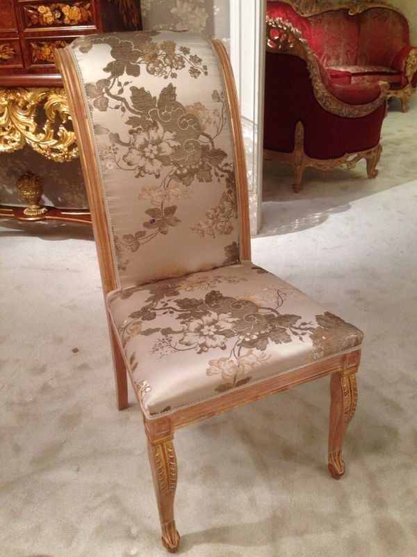 Chair 1265, Carved chair with floral covering