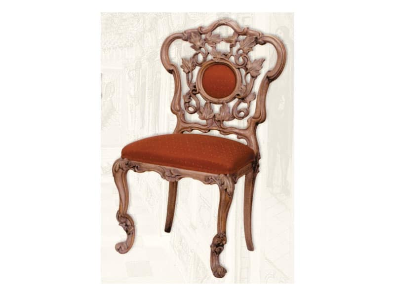 Chair art. Sari, Wooden chair with padded seat, Art Deco style