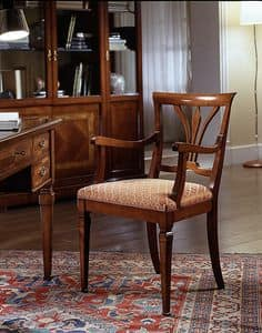 D 602, Chair in cherry, with armrests and upholstered seat