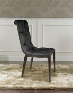Epoque, Modern classic chair in wood, tufted