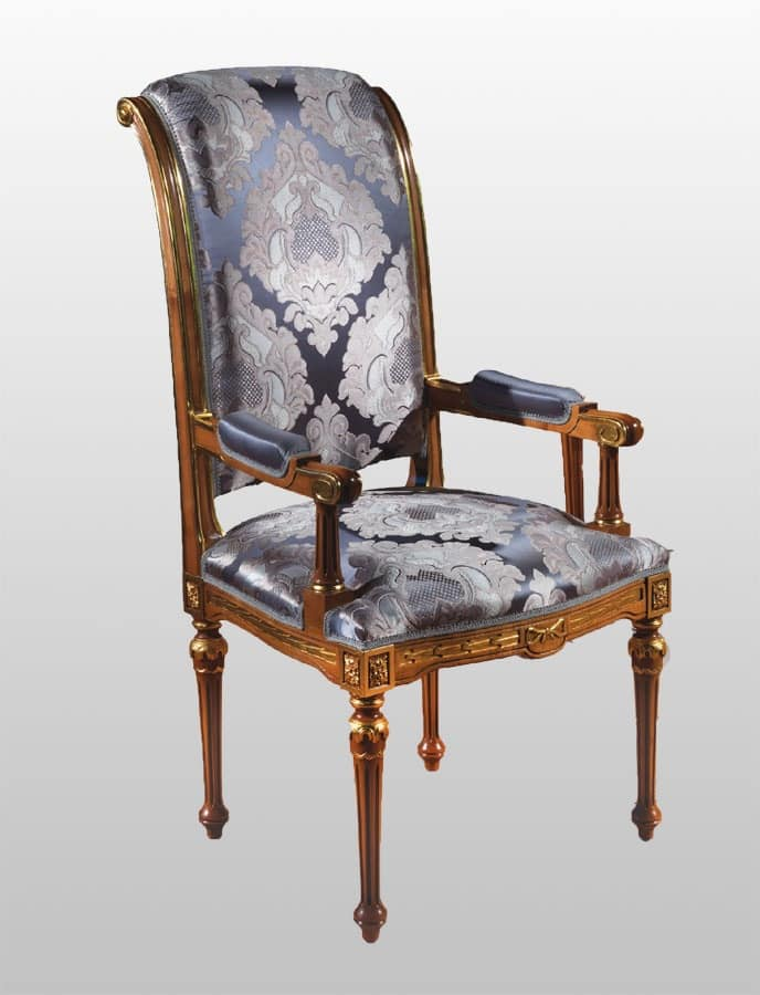 F500 Chair, head of table in classic luxury style, in solid carved wood