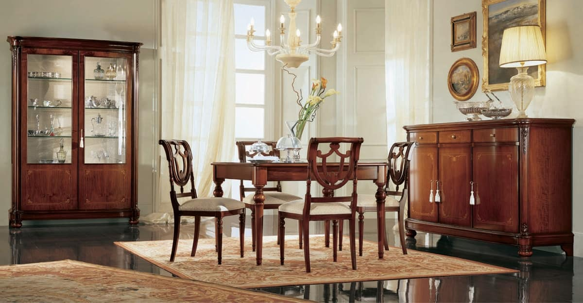 Gardenia chair, Walnut chair with perforated backrest, in classic style