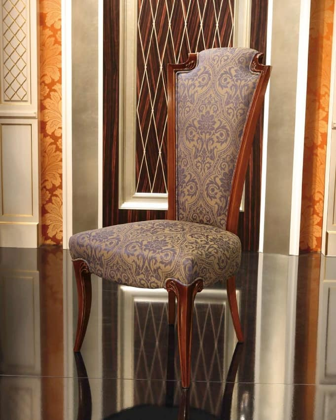 Impero Chair, Classic padded wooden chair with high back