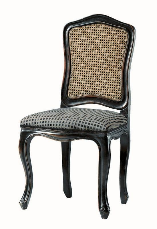 Kandisky RA.0985, Chair in black lacquered, upholstered seat, straw on back