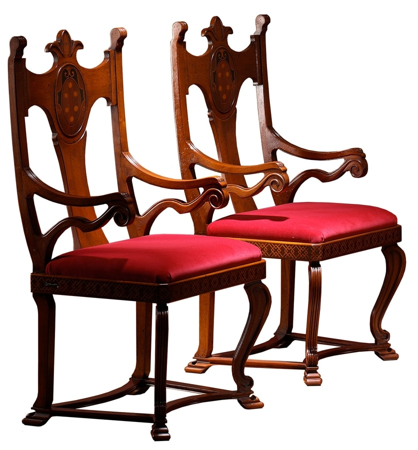 Lacona ME.0980, Chair with armrests, with carved and inlaid backrest