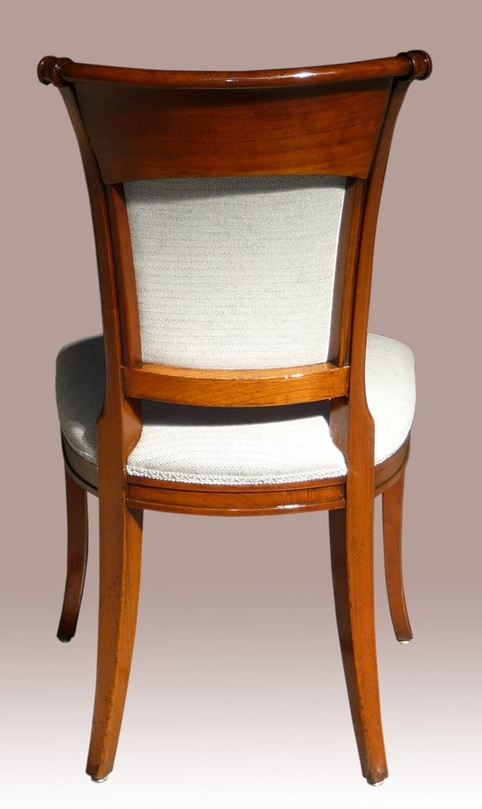 Lyon VS.1208, Walnut chair, upholstered seat, backrest in Vienna straw, for living in classic style