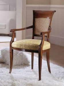 M 606, Chair with cane backrest for classics living rooms