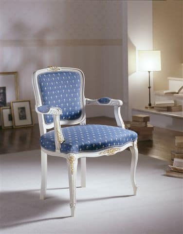 M 614, Chair with padded armrests and lacquered decorations