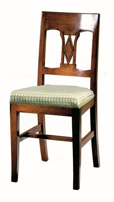 Manciano ME.0966.T, Walnut chair, with padded seat, classic style