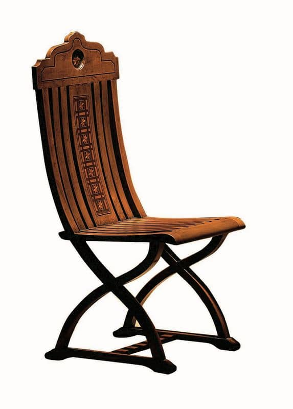 Orbetello ME.0977, Walnut inlaid chair, for classic lounges