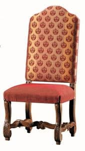 Seurat RA.0989, Carved walnut chair, upholstered seat and back