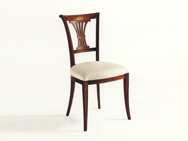Shelley, Classic chair, upholstered seat, backrest with carvings