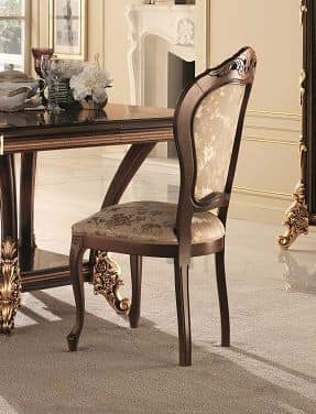 Sinfonia chair, Padded classic chair in beechwood, with gilded carvings
