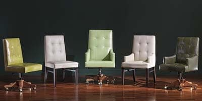 Star Head of the table, Chair with armrests, classic style, in leather