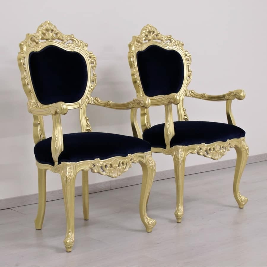 Venezia gold fabric, Classic luxury chair with gold leaf finishes and red fabric covering