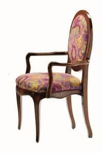 Verrocchio RA.0994, Head of the table chair in walnut, round back, classic
